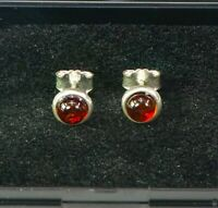 925 Sterling Silver Baltic Amber Stud Earrings Cognac Green gift for Women