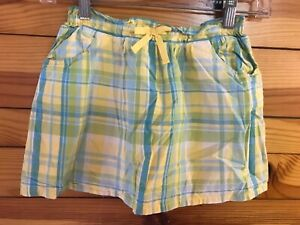 Crazy 8 Plaid Skirt Girls Yellow/Blue/Green/White Lined Size S 5-6