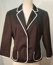 Escada Sport Jacket Coat Blazer Cotton Button Up Black White Trim SZ 40 EUC