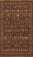 4x6 ft Flat-Weave Geometric Kilim Vintage Style Oriental Area Rug Tribal Carpet