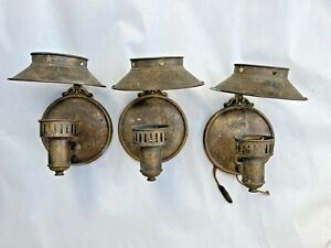 3 Antique Metal Matching Wall Sconce Star Cutout Architectural Salvage Arts Vtg