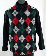 Gymboree Fleece Pullover Jacket Boys 7 8 Winter SNOW CHILLIN Argyle Half Zip