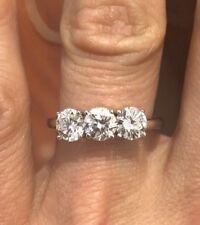 Platinum &  3 Stone Diamond Ring 1.60 tcw. GIA
