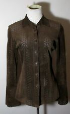 Women's SUTTON STUDIO Brown 100% Leather Long Sleeve Shirt Size 4