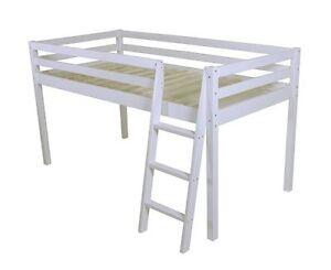 "SHORTY Mid Sleeper Cabin Bed loft Bunk White Frame Shorty Childrens Bed 2FT 6"""