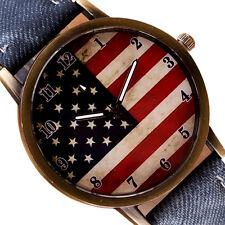 American Flag Retro Casual Women Watch Leather Analog Quartz Vogue Wrist Uhren