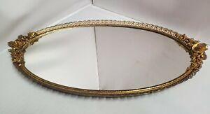Vtg Hollywood Regency Matson Gold Ormolu Vanity Dresser Mirror Tray Oval Roses