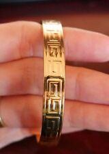 NEW WOMEN'S  GREEK KEY BANGLE CUFF BRACELET 18K YELLOW GOLD PLATED