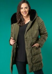 Styled By Luxe Padded Coat with Faux Fur HoodUK 18 olive new with tag (509129)