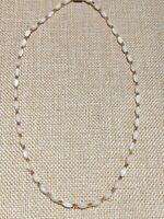 Vintage Estate Gold Tone White Cats Eye Oval Bead Necklace Choker