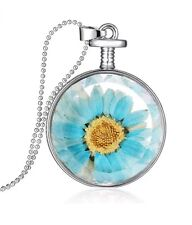 Pendant Necklace Dried Flower Handmade Blue Daisy Round Clear Glass