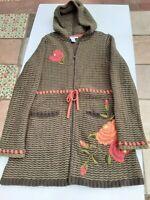 Cabi Women's M Wool Long Sleeve Zip Embroidered Cardigan Hoodie Sweater Green