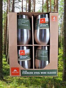 Ozark Trail Stainless Steel 14 oz Wine Glass Set of 4 Brand New in Box BPA Free