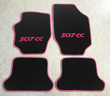 Autoteppiche Fußmatten für Peugeot 307cc Cabrio schwarz pink 2003-08 4tlg Neu