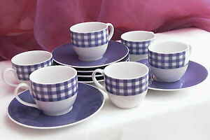 12 tlg. Espresso Set Mokkatasse Espressotassen mit Unterteller Vichy lila KARO