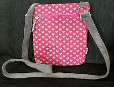 LUA Handmade Crossbody Bag Pink & Grey Hearts Adjustable Strap Handbag Messenger