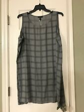 d997a4ad28775 Eileen Fisher Ash Plaid Scoop Neck Silk Georgette Crepe Tunic Size 3x