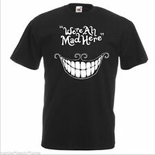"""MEN'S """"we're all mad here"""" black t shirt loose fit fotl large  funny humour top"""