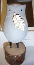 Figura Decorativa Búho Bubo Pájaro Cemento Madera Expositor Escultura