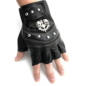 Studded Gothic Gloves Punk Motorcycle Car Driving Gloves Fingerless Mittens