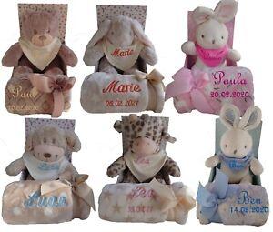 Baby Kinder Set 3teilig Babydecke mit Namen bestickt Teddy Halstuch Taufe Geburt