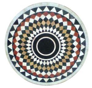 "36"" Marble Center Table Top Semi Precious Stones Inlay Work"