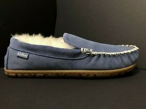 NWOT~ LL BEAN Wicked Good Moccasin Venetian Blue Shearling Suede Slippers 10