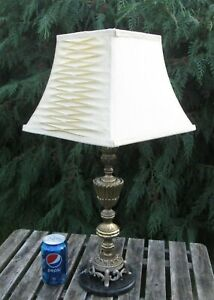 Vintage Pale Cream Off White Square Pleated Silk Lampshade Lined Unusual Style