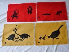 4 Hand silk-screened Placemats-Designed by Ekootak Canadian Art