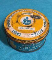 Vintage Crest Mfg. Co. Faucet Screw System Threaded Lid Tin Metal Tin Full !!!