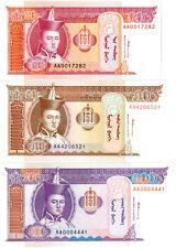 Mongolia 20/50/100 Tögrög Set (1993) P#55/56/57 *1st Prefix AA* Mint UNC