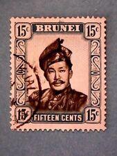 Brunei. QE2 1952 15c Black & Pale Blue. Wmk Mult Script CA. SG108. P13. Used.