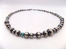 Vintage Handmade Sterling Silver Navajo Pearls With Turquoise Beads