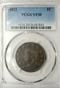 1822 Large Cent.  PCGS.  VF 30 ( N-3)