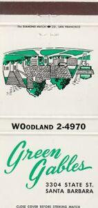 VINTAGE MATCHBOOK COVER. GREEN GABLES RESTAURANT. SANTA BARBARA, CA