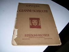 LIBRO GIANNI SCHICCHI DI GIACOMO PUCCINI RICORDI 1918