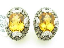 14KT SOLID YELLOW GOLD GENUINE CHAMPAGNE DIAMOND & CITRINE FRENCH BACK EARRINGS