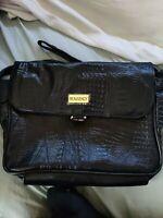 Black LEATHER croc print BEAUGENCY shoulder bag handbag cross body bag