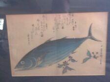 Orig ANDO HIROSHIGE Blue Fish Ocean Bonito JAPANESE  Wood Block Print Signed