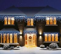 Christmas xmas bright led snowing icicle lights indoor outdoor house christmas led white snowing icicle bright party wedding xmas outdoor lights aloadofball Image collections