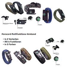 Paracord Survival Armband Multi-Tool Outdoor Notfall Messer Kompass Feuerstein