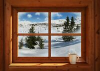 Snowy Landscape Poster Print Size A4 / A3 House Window Nature Poster Gift #14195