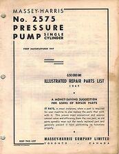 MASSEY HARRIS VINTAGE No. 2575  PRESSURE  PUMP PARTS MANUAL  650080 M1  1947