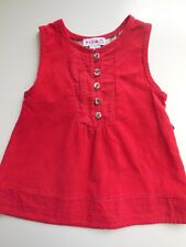 'PLUM' BABY GIRL RED COTTON CORDUROY PINAFORE DRESS SIZE 00 FITS 3-6M