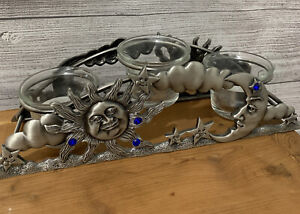 Spoontiques Pewter Metal Arch Candle Holder 3 Tea Light Sun Moon Stars Celestial