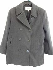 TALBOTS 100% Wool Gray Peacoat Womens 12 Double Breasted Fully Lined