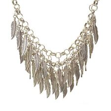 Statement Layered Silver Feather Necklace New Boho Hippy Bib