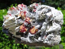 Minerali *** REALGAR ROSSO con PIRITE, GALENA e QUARZO JALINO Perù