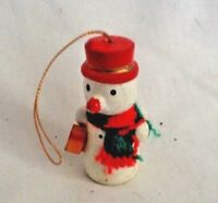 """Vintage Wooden Snowman Christmas Tree Decoration 2"""" tall"""