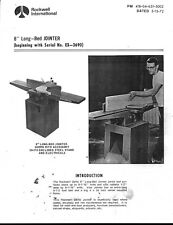 1972 Rockwell 8 Inch Long Bed Jointer Instruction Maintenance Amp Parts Manual